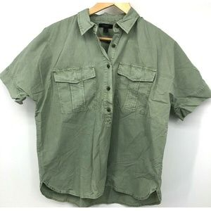 J Crew Womens Shirt Button Green Military Top